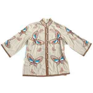 Vtg 70s ChuChi Embroidered Butterfly Boho Mock Top